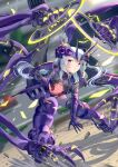 1girl absurdres armor armored_boots bangs black_legwear blurry blurry_background bodysuit boots breasts car commentary_request crop_top extra_arms faulds full_body gauntlets ground_vehicle hair_between_eyes headgear highres holding holding_weapon long_hair looking_at_viewer mecha_musume mechanical_arms midriff morisaki_jiro motor_vehicle navel original outdoors parted_lips purple_armor purple_bodysuit road shadow shoulder_armor sidelocks silver_hair skull small_breasts solo street tassel thigh-highs twintails violet_eyes weapon