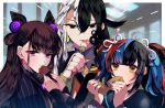 1boy 2girls amethyst_(gemstone) androgynous ashiya_douman_(fate) asymmetrical_hair bell black_eyes black_hair black_sailor_collar brown_hair collar cookie curly_hair dango earrings eating fang fate/grand_order fate_(series) food frilled_collar frills gatona39 hair_bell hair_between_eyes hair_cones hair_intakes hair_ornament hair_up highres hime_cut holding holding_food jewelry jitome long_hair long_sleeves magatama magatama_earrings multicolored multicolored_hair multicolored_nails multiple_girls murasaki_shikibu_(fate) puff_and_slash_sleeves puffy_sleeves purple_collar ribbon sailor_collar sei_shounagon_(fate) skin_fang stick twintails two-tone_hair very_long_hair violet_eyes wagashi white_hair white_ribbon yellow_eyes