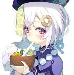 1girl bangs blush braid commentary_request drinking_straw fruit_cup genshin_impact grey_hair hair_between_eyes hair_ornament hat highres holding jacket long_hair looking_at_viewer ofuda olive_(laai) purple_capelet purple_headwear purple_jacket qing_guanmao qiqi_(genshin_impact) simple_background single_braid solo upper_body very_long_hair violet_eyes white_background