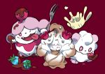 0_0 alcremie berry chocolate closed_mouth commentary_request fang fork gen_6_pokemon gen_8_pokemon hemhemhoo highres holding holding_fork looking_at_viewer milcery one_eye_closed open_mouth pokemon pokemon_(creature) red_background simple_background slurpuff smile swirlix tongue tongue_out