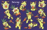 character_name closed_mouth commentary_request crying gen_8_pokemon hemhemhoo highres holding holding_stick looking_back lying multiple_views no_humans on_stomach one_eye_closed open_mouth pokemon pokemon_(creature) purple_background sharp_teeth simple_background smile stick teeth thwackey tongue yellow_eyes