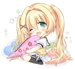 1girl ;d bangs black_legwear blonde_hair blush chibi commentary_request eyebrows_visible_through_hair frilled_pillow frills full_body green_eyes hair_between_eyes hair_ornament heart heart_pillow highres hizuki_yayoi looking_at_viewer no_shoes one_eye_closed open_mouth pillow pleated_skirt puffy_short_sleeves puffy_sleeves sailor_collar school_uniform serafuku shirt short_sleeves simple_background sitting skirt smile socks solo starry_background summer_pockets sweater_vest tsumugi_wenders twintails wariza white_background white_sailor_collar white_shirt white_skirt x_hair_ornament