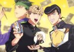 4boys :d anchor_symbol black_hair black_jacket blonde_hair blurry commentary_request crossover depth_of_field diamond_wa_kudakenai dice earrings earth_wind_&_fire_(stand) fingernails gakuran green_hair green_headband grin happy hazekura_mikitaka headband heart higashikata_josuke highres holding holding_dice holding_pen jacket jewelry jojo_no_kimyou_na_bouken k_(gear_labo) kishibe_rohan kyou_kara_ore_wa!! long_hair long_sleeves looking_at_viewer looking_to_the_side male_focus mitsuhashi_takashi money multiple_boys nib_pen_(object) notice_lines open_mouth pen pointy_ears pompadour purple_shirt school_uniform sharp_teeth shirt short_hair sleeves_rolled_up smile sparkle speech_bubble spoken_character stand_(jojo) stud_earrings teeth upper_body yellow_background yellow_shirt yen