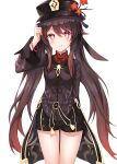 1girl absurdres bangs black_coat black_headwear black_shorts blush breasts brown_hair coat coattails flower genshin_impact hat hat_flower highres hu_tao licking_lips long_hair long_sleeves looking_at_viewer neon9444 plum_blossoms red_eyes shorts small_breasts smile symbol-shaped_pupils thighs tongue tongue_out twintails very_long_hair