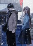 1boy 1girl absurdres bag blue_eyes breasts brown_hair coat commentary fuuna_(conclusion) highres holding holding_bag long_hair long_skirt long_sleeves looking_at_another looking_back original outdoors profile road_sign sign skirt small_breasts snow snowing standing stop_sign translucent winter winter_clothes winter_coat