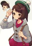 1girl :i absurdres backpack bag bangs baseball_cap blush blush_stickers bob_cut brown_bag brown_eyes brown_hair buttons cardigan closed_mouth collared_dress commentary_request eating eyelashes food food_on_face gloria_(pokemon) green_headwear grey_cardigan hand_up hat highres holding holding_spoon holding_strap hooded_cardigan looking_at_hand multiple_views pokemon pokemon_(game) pokemon_swsh short_hair spoon tam_o'_shanter yamunashi