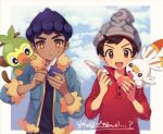 2boys :d bangs beanie berry_(pokemon) black_shirt blue_jacket blush brown_eyes brown_hair cable_knit closed_mouth commentary_request dark_skin dark_skinned_male frown fur-trimmed_jacket fur_trim gen_8_pokemon grey_headwear grookey hands_up hat holding holding_knife hop_(pokemon) jacket knife male_focus multiple_boys on_shoulder open_mouth pokemon pokemon_(creature) pokemon_(game) pokemon_on_shoulder pokemon_swsh purple_hair red_shirt scorbunny shirt short_hair sleeves_rolled_up smile starter_pokemon sweatdrop swept_bangs tongue victor_(pokemon) yamunashi