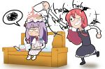 absurdres black_eyes black_skirt black_vest blue_bow book bow couch crescent crescent_hat_ornament cup dress faraway8282 hat hat_ornament head_wings highres koakuma laughing long_dress long_hair long_sleeves mob_cap necktie nintendo_switch patchouli_knowledge pillow purple_hair red_bow red_neckwear redhead shirt skirt smirk spilling striped striped_dress teacup touhou vest wet wet_hat white_shirt wings