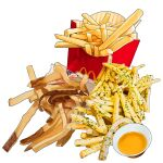 fast_food food food_focus french_fries garnish mcdonald's no_humans original paper realistic sauce saucer simple_background still_life studiolg white_background
