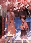 1boy 1girl absurdres age_difference backpack bag blue_eyes breasts brown_hair cherry_blossoms commentary fuuna_(conclusion) hair_over_one_eye highres holding holding_bag long_hair looking_at_another medium_skirt open_mouth original outdoors pantyhose shadow skirt small_breasts smile spring_(season) walking yellow_eyes