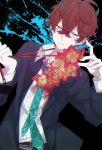 1boy black_background black_jacket blazer blue_neckwear character_request copyright_request eiku flower green_eyes hair_between_eyes hands_up hibiscus highres holding jacket lanyard long_sleeves looking_at_viewer male_focus necktie paint_splatter parted_lips red_neckwear redhead shirt solo striped striped_shirt vertical-striped_shirt vertical_stripes white_shirt