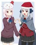 2girls absurdres christmas cierra_runis eyebrows_visible_through_hair gem hair_between_eyes hair_ribbon hat highres jacket jewelry long_hair looking_at_viewer medium_hair mia_runis multiple_girls open_mouth overidea pink_hair red_eyes ribbon ryucchi santa_hat school_uniform shirt simple_background skirt smile twintails virtual_youtuber white_shirt