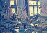 1boy 1girl chair classroom curtains fish highres ichigoame open_window original scenery school school_uniform serafuku sleeping stingray surreal table underwater water window