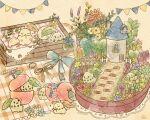 :> alternate_color artist_name brick_road chibi chikorita chimney clothing_cutout egg fence gen_2_pokemon happy hatching hatching_(texture) heart_cutout highres jewelry mian_(user_kwcj2833) no_humans plaid_blanket pokemon pokemon_(creature) pokemon_(game) pokemon_hgss ring solid_circle_eyes tagme watermark window_box