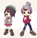 1boy 1girl :d :o backpack bag bangs beanie bob_cut boots brown_bag brown_eyes brown_footwear brown_hair buttons cable_knit cardigan clenched_hands collared_dress commentary_request denim full_body gloria_(pokemon) green_headwear green_legwear grey_cardigan grey_headwear hands_up hat highres hooded_cardigan jeans looking_at_viewer open_mouth pants plaid plaid_legwear pokemon pokemon_(game) pokemon_swsh red_shirt shirt shoes short_hair sleeves_rolled_up smile socks standing swept_bangs tam_o'_shanter torn_clothes torn_jeans torn_pants victor_(pokemon) yamunashi