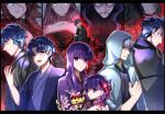 4girls 6+boys berserker_(fate/zero) blue_eyes blue_hair brother_and_sister brothers capelet child dual_persona fate/extra fate/stay_night fate/zero fate_(series) father_and_son francis_drake_(fate) hair_ribbon hassan_of_the_cursed_arm_(fate) jacket japanese_clothes kimono long_hair matou_byakuya matou_kariya matou_sakura matou_shinji matou_zouken multiple_boys multiple_girls old old_man purple_hair red_ribbon ribbon rider short_hair siblings smile uncle_and_niece violet_eyes wavy_hair white_hair ycco_(estrella) younger