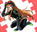 arm_up bangs bodysuit elbow_gloves elbow_pads glasses gloves goggles goggles_on_head green_footwear green_gloves hand_on_floor hand_up happy highres hiro-bb knee_pads long_hair orange_hair persona persona_5 pocket sakura_futaba simple_background sitting skin_tight smile teeth violet_eyes