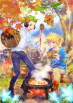 2boys artist_name autumn_leaves blonde_hair boots bowl cooking fire flower green_eyes headphones highres korok link log male_focus multiple_boys otsuichi_(2bro.) outdoors pants pot shirt sitting spoon steam the_legend_of_zelda the_legend_of_zelda:_breath_of_the_wild tongue tongue_out tree tunic white_shirt yoru_(butterflykixx)