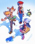 1girl 2boys bag bangs barry_(pokemon) black_hair black_legwear blonde_hair blue_pants boots breath brown_bag brown_footwear chimchar clenched_hands closed_mouth commentary_request copyright_name dated dawn_(pokemon) duffel_bag eyelashes footprints gen_4_pokemon green_scarf hair_ornament hairclip hat lucas_(pokemon) multiple_boys open_mouth over-kneehighs pants piplup pokemon pokemon_(creature) pokemon_(game) pokemon_dppt red_headwear red_scarf scarf shoes short_hair short_sleeves shoulder_bag skyloop19 sleeveless smile snow standing starter_pokemon_trio teeth thigh-highs tongue turtwig yellow_bag