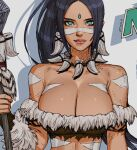 1girl arm_strap artist_name black_hair bodypaint bone_necklace bracer breasts dark_skin dark_skinned_female earrings etama_quomo forehead_jewel fur_trim green_eyes holding holding_staff jewelry large_breasts league_of_legends nidalee solo staff strapless tubetop upper_body