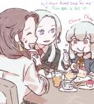 3girls betchan breasts brown_hair cake chibi closed_eyes closed_mouth dorothea_arnault eating edelgard_von_hresvelg english_text fire_emblem fire_emblem:_three_houses food hair_ornament long_hair long_sleeves lysithea_von_ordelia multiple_girls scarf shirt violet_eyes white_hair