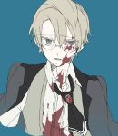1boy black_jacket black_neckwear blazer blonde_hair blood blood_on_face bloody_clothes blue_background character_request collared_shirt copyright_request cravat dress_shirt eiku eyebrows_visible_through_hair formal glasses green_eyes hair_between_eyes jacket looking_at_viewer male_focus parted_lips shirt simple_background solo upper_body waistcoat white_shirt