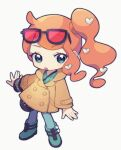1girl :o bag black_bag blush boots brown_coat buttons chibi coat commentary_request eyelashes eyewear_on_head full_body green_eyes green_footwear green_shirt hair_ornament handbag heart heart_hair_ornament highres long_hair orange_hair pants pokemon pokemon_(game) pokemon_swsh ribbed_shirt shirt side_ponytail solo sonia_(pokemon) standing sunglasses watch watch yamunashi