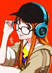 arm_up bangs black_headwear glasses green_jacket hand_up happy hat headphones highres holding holding_eyewear jacket long_hair orange_hair persona persona_5 persona_5_scramble:_the_phantom_strikers pixel_art pixel_heart polaritypus purple_heart red_background sakura_futaba shirt simple_background sleeves_rolled_up smile t-shirt teeth yellow_shirt
