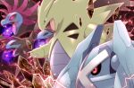 commentary_request energy energy_ball fangs gen_2_pokemon gen_3_pokemon gen_5_pokemon glowing glowing_eyes head_down hydreigon maiko_(mimi) metagross no_humans open_mouth pokemon pokemon_(creature) red_eyes rock tongue tyranitar