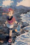 1girl bike_shorts brown_hair brown_legwear closed_mouth clouds collared_shirt commentary_request day fanny_pack gen_3_pokemon gloves grey_eyes highres knees looking_to_the_side may_(pokemon) mudkip orange_bag outdoors pokemon pokemon_(creature) pokemon_(game) pokemon_rse red_bandana red_shirt shirt shoes short_sleeves skirt sky smile socks standing starter_pokemon water white_skirt yamanote