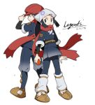 1boy 1girl black_legwear closed_mouth commentary_request copyright_name dated eyelashes female_protagonist_(pokemon_legends:_arceus) floating_hair floating_scarf grey_eyes hand_on_headwear hat highres holding holding_poke_ball male_protagonist_(pokemon_legends:_arceus) outline pantyhose petoke poke_ball poke_ball_(legends) pokemon pokemon_(game) pokemon_legends:_arceus ponytail red_headwear red_scarf sash scarf shoes sidelocks simple_background smile socks standing undershirt white_background white_headwear white_legwear white_scarf