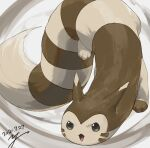 commentary_request dated furret gen_2_pokemon green_eyes no_humans open_mouth paws pokemon pokemon_(creature) signature solo toes tongue yu_ikedon