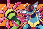 armaldo arrow_(symbol) artist_name closed_mouth cradily gen_3_pokemon head_tilt highres jacknaiff looking_at_viewer no_humans orange_eyes outline pokemon pokemon_(creature) symbol_commentary two-tone_background watermark