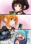 anger_vein aqua_(konosuba) black_sweater blonde_hair blue_eyes blue_hair blue_hoodie blush braid brown_hair commentary_request crying darkness_(konosuba) face fan folding_fan from_above gradient gradient_background hair_bun hands_clasped hands_up happy highres holding hood hood_down hoodie izawa_koushi kono_subarashii_sekai_ni_shukufuku_wo! long_hair long_sleeves megumin multiple_girls open_mouth own_hands_together pink_background ponytail red_eyes smile sweater translation_request youtube