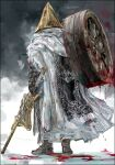 1boy absurdres alfred_(bloodborne) armor blood bloodborne bloody_clothes bloody_weapon boots brown_footwear cape facing_away full_body gauntlets gun helmet highres holding holding_gun holding_weapon male_focus nslacka over_shoulder solo standing weapon weapon_over_shoulder wheel white_cape