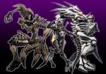 1boy 2girls arm_cannon asymmetrical_arms beast_wars blade bone claws clenched_teeth dinosaur fingernails fossil glowing glowing_eyes goggles highres holding holding_sword holding_weapon horns long_fingers long_toes looking_at_viewer mecha multiple_girls oohara_tetsuya paleotrex pose predacon purple_background ractonite red_eyes ribs sharp_fingernails sharp_teeth signature skeletal_arm skeletal_hand skeletal_tail skeleton skull skull_mask spikes styracosaurus sword teeth thick_thighs thighs toenails transformers transformers:_war_for_cybertron_trilogy trio tyrannosaurus_rex vertebreak weapon yellow_eyes