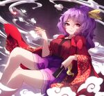 1girl breasts bright_pupils chiroru_(cheese-roll) commentary english_commentary fan feet_out_of_frame folding_fan grin hair_ribbon highres holding holding_fan japanese_clothes kimono kiseru komakusa_sannyo long_hair long_sleeves looking_at_viewer medium_breasts pipe ponytail purple_hair purple_skirt red_eyes red_kimono ribbon skirt smile smoke solo touhou wide_sleeves yellow_ribbon
