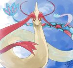 antennae bright_pupils commentary_request dated gen_3_pokemon looking_at_viewer milotic no_humans pokemon pokemon_(creature) shiny signature solo yu_ikedon