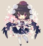 1girl black_footwear black_hair black_skirt black_wings blush_stickers bow bowtie breasts cherry_blossoms chibi commentary fan feathered_wings floral_print flower full_body hat highres holding holding_fan looking_at_viewer nikorashi-ka open_mouth pom_pom_(clothes) red_eyes red_headwear red_neckwear shameimaru_aya shirt short_hair short_sleeves simple_background skirt solo thigh-highs tokin_hat touhou white_legwear white_shirt wings