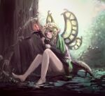 1girl barefoot blonde_hair braid crossbow fairy fairy_wings flower hair_flower hair_ornament mercedes_(odin_sphere) minase_hal odin_sphere on_ground pointy_ears red_eyes sitting solo tree twin_braids wings