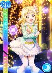 blonde_hair blush character_name dress love_live!_school_idol_festival love_live!_sunshine!! ohara_mari short_hair smile yellow_eyes