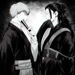 2boys absurdres closed_eyes closed_mouth cowboy_shot ear_piercing fan getou_suguru greyscale hair_bun hair_pulled_back hakama hand_up highres holding holding_fan japanese_clothes jujutsu_kaisen kimono long_hair looking_at_another male_focus monochrome multiple_boys parted_lips piercing profile short_hair sleeves_past_fingers sleeves_past_wrists smile standing tsurime wide_sleeves xxhane zenin_naoya