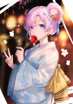 1girl alternate_hairstyle artist_name blue_flower bow candy_apple character_name eating flower food from_side hair_bun hair_flower hair_ornament highres holding holding_food indie_virtual_youtuber japanese_clothes kgr kimono looking_at_viewer lyrica_(vtuber) pink_flower pink_hair solo star_(symbol) star_hair_ornament v virtual_youtuber yellow_bow yukata