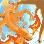 breathing_fire charizard claws clouds commentary_request dated day fire flying gen_1_pokemon grey_eyes no_humans outdoors pokemon pokemon_(creature) signature sky solo yu_ikedon
