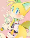 1girl animal_nose belt blue_eyes blush closed_mouth flying_sweatdrops fox_girl furry genderswap genderswap_(mtf) gloves holding_screwdriver looking_at_viewer misuta710 mixed-language_commentary multiple_tails overalls screwdriver smile solo sonic_(series) tail tails_(sonic) two_tails v white_gloves