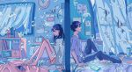 1boy 1girl angelfish black_hair fish highres ichigoame long_hair original profile room sad sitting underwater water window