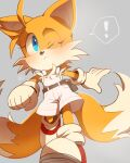 ! 1girl animal_nose belt blue_eyes blush closed_mouth fox_girl furry genderswap genderswap_(mtf) gloves misuta710 mixed-language_commentary multiple_tails one_eye_closed overalls solo sonic_(series) spoken_exclamation_mark tail tails_(sonic) two_tails walking white_gloves