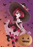1girl :d bangs basket black_dress black_headwear bow bug butterfly dress eyebrows_visible_through_hair gradient gradient_background halloween halloween_bucket halloween_costume hanadera_nodoka hat hat_bow healin'_good_precure highres holding holding_basket insect layered_dress leg_up looking_at_viewer open_mouth orange_background pantyhose pink_neckwear precure puchinyan2 purple_background red_bow red_eyes redhead shiny shiny_hair short_hair short_sleeves smile solo standing standing_on_one_leg striped striped_legwear witch_hat