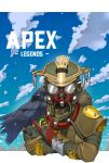 1other ambiguous_gender animal_on_arm apex_legends apmix bird bird_on_arm bloodhound_(apex_legends) clouds copyright_name crow gas_mask gloves helmet highres logo mask mouth_mask poking red_gloves sky solo