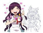 3girls :d apron bandaged_arm bandages bangs black_nails blood blunt_bangs blush breasts cat_hair_ornament closed_eyes cowboy_shot cropped_torso crying danganronpa_(series) danganronpa_2:_goodbye_despair doodle flower furukawa_(yomawari) hair_horns hair_ornament hand_up hands_clasped happy highres holding large_breasts long_hair mioda_ibuki mole mole_under_eye multiple_girls nail_polish notice_lines nurse open_mouth own_hands_together pink_blood pink_shirt puffy_short_sleeves puffy_sleeves purple_hair saionji_hiyoko scared shirt short_sleeves simple_background skirt smile solo_focus spoilers syringe tsumiki_mikan white_apron white_background